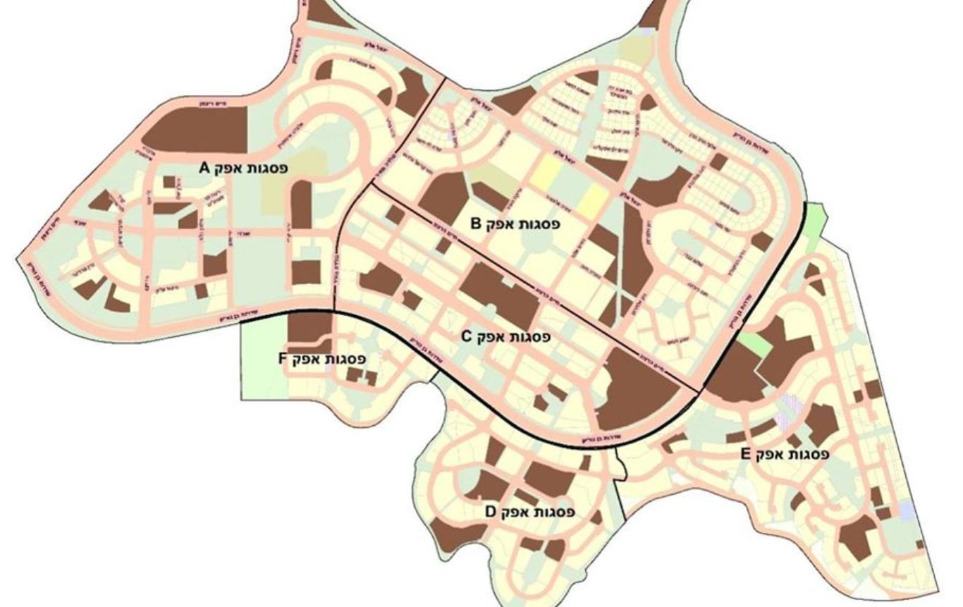 מפה של המתחמים A-F בפסגות אפק ראש העין